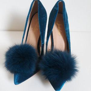 Blue Pom Pom Heels